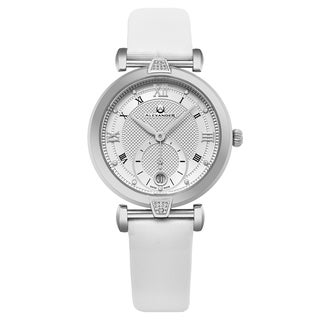 Alexander Women's Swiss Made Diamonds 'Olympias' White Satin Leather Strap Watch