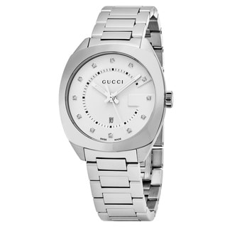 Gucci Women's YA142403 'GG2570' Silver Diamond Dial Stainless Steel Swiss Quartz Watch