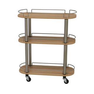 Tan Wood/Metal 3-shelf Rolling Utility Cart