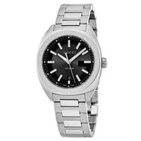 Gucci Women's  'GG2570' Black Dial Stainless Steel Swiss Quartz Watch - silver