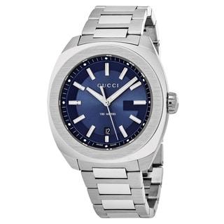 Gucci Men's YA142205 'GG2570' Blue Dial Stainless Steel Swiss Quartz Watch
