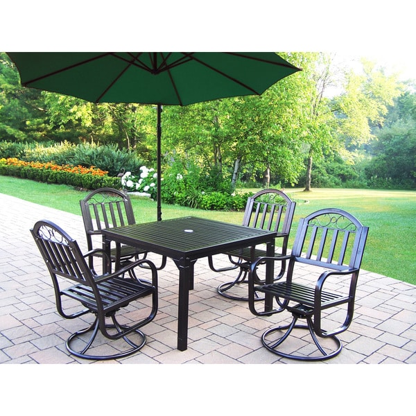 Hometown 6 Pc Dining Set With Square Table, 4 Swivel Chairs And 10 Ft Green