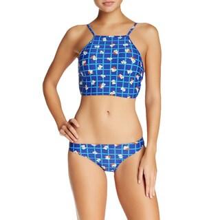 Minkpink Break Free Blue Floral Longline Apron Bikini Top
