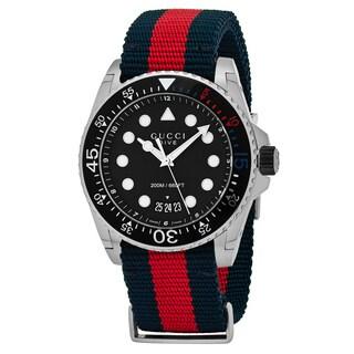 Gucci Men's YA136210 'Dive' Black Dial Blue/Red Nylon Strap Swiss Quartz Watch