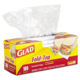 Glad Fold-Top Sandwich Bags 6 1/2 x 5 1/2 Clear 180/Box