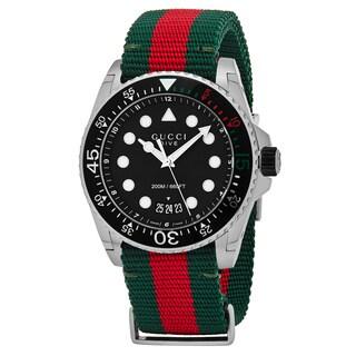 Gucci Men's YA136209 'Dive' Black Dial Green/Red Nylon Strap Swiss Quartz Watch