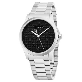 Gucci Men's YA126460 'Timeless' Black Dial Stainless Steel Swiss Quartz Watch - silver