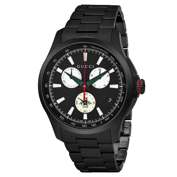 Gucci Men's 'Timeless' Black Dial Black Stainless Steel Chronograph Swiss Quartz Watch - silver