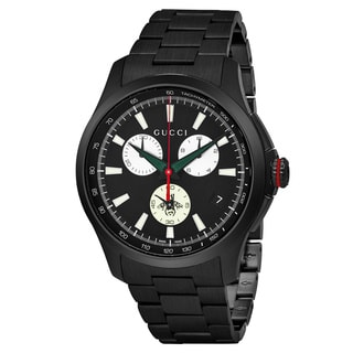 Gucci Men's YA126268 'Timeless' Black Dial Black Stainless Steel Chronograph Swiss Quartz Watch