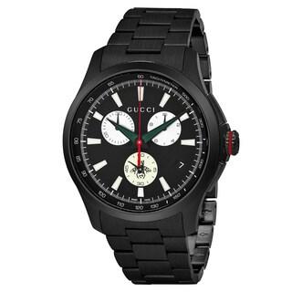 Gucci Men's 'Timeless' Black Dial Black Stainless Steel Chronograph Swiss Quartz Watch - silver