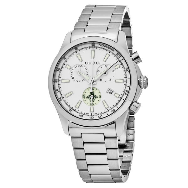 e8f27d751bb Shop Gucci Men s YA126472  Timeless  White Dial Stainless Steel ...