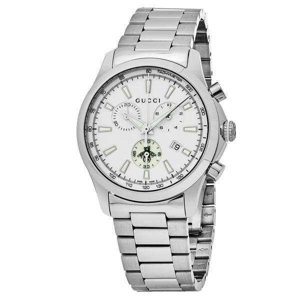 5e81da564e5 Shop Gucci Men s YA126472  Timeless  White Dial Stainless Steel ...