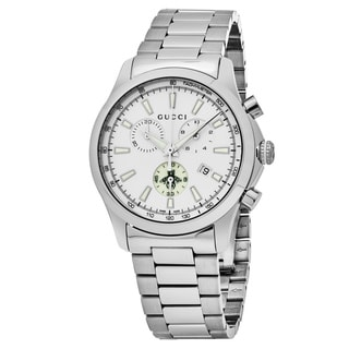 Gucci Men's YA126472 'Timeless' White Dial Stainless Steel Chronograph Swiss Automatic Watch