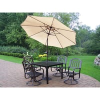 7 pc Dining Set with Square Table, 4 Swivel Chairs, Umbrella and Stand