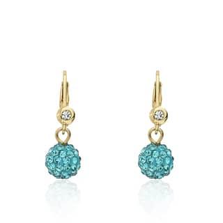 Molly Glitz Glitz Blitz Aqua Crystal Ball Leverback Earrings https://ak1.ostkcdn.com/images/products/13986028/P20610859.jpg?impolicy=medium