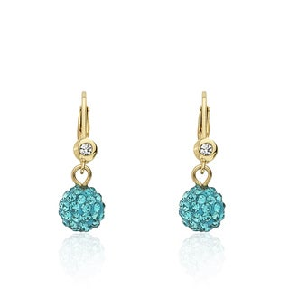 Molly Glitz Glitz Blitz Aqua Crystal Ball Leverback Earrings