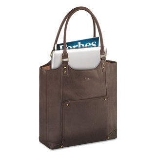 Solo Executive Leather/Poly Bucket Tote 16 inches 15 1/2 inches x 4 3/4 inches x 17 1/4 inches Espresso