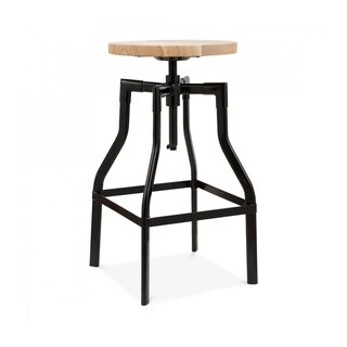 Machinist Semi-Gloss Black Adjustable Steel Barstool 26-32 Inch