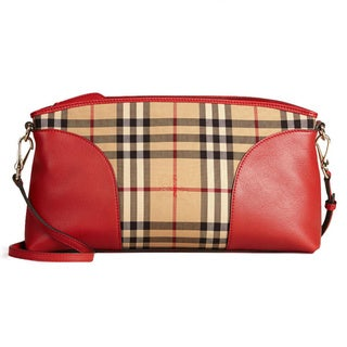 Burberry Horseferry Red Check Canvas and Leather Crossbody Handbag