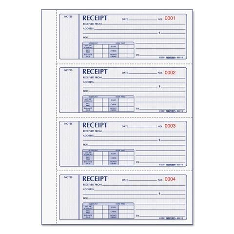 Rediform Money Receipt Book, 7 x 2.75, Carbonless Triplicate, 200 Sets/Book