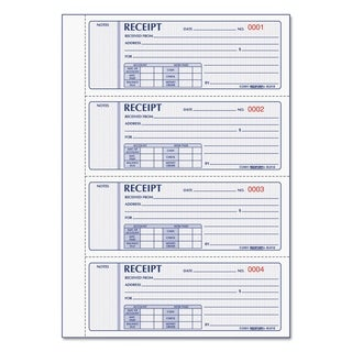 Rediform Money Receipt Book 2 3/4 x 7 Carbonless Triplicate 200 Sets/Book