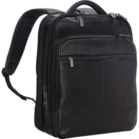 """Kenneth Cole Reaction """"Back-Stage Access"""" Colombian Leather Slim TSA Checkpoint-Friendly 16-inch Laptop Business Backpack"""