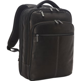 Kenneth Cole Reaction Colombian Leather Slim Dual Compartment Checkpoint Friendly 16-inch Computer Business Backpack (Option: Black)