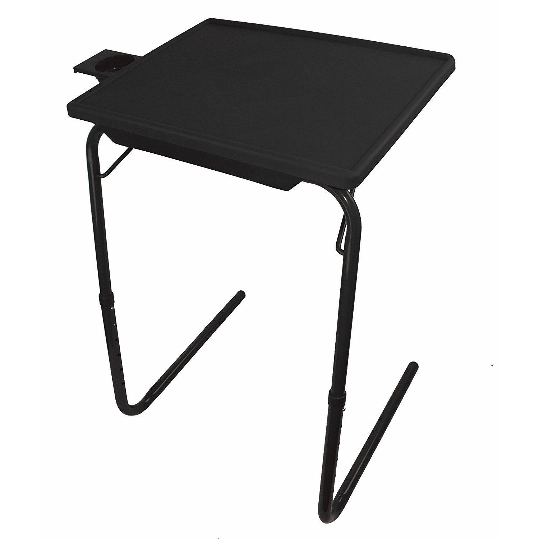 Portable Foldable Adjustable TV Tray Table (Black)