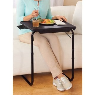 Portable Foldable TV Tray Table - Laptop, Eating, Drawing Stand - Adjustable Tray w/ Sliding Adjustable Cup Holder