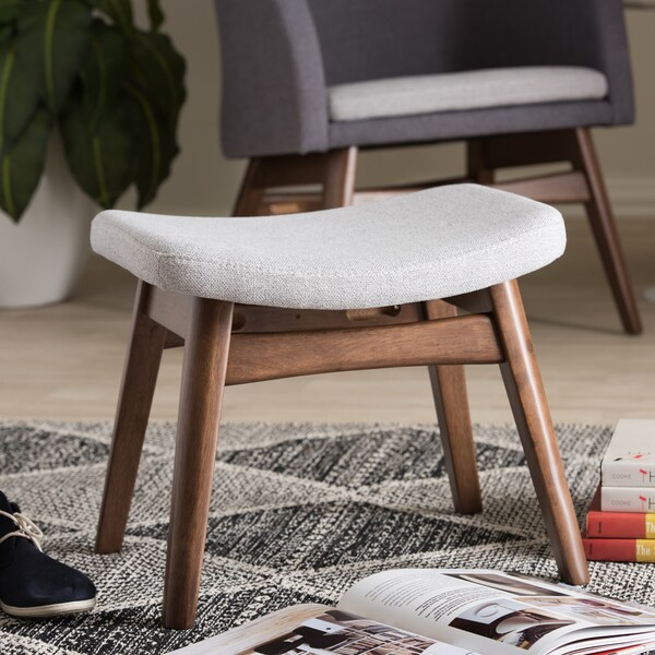Baxton Studio Mid-Century Light Grey Fabric Upholstered Footstool