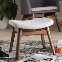 Baxton Studio Mid-Century Light Grey Fabric Upholstered Footstool