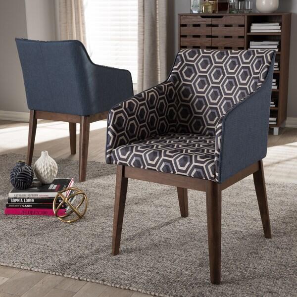Baxton Studio Mid Century Dark Blue Patterned Fabric 2 Piece Lounge Chair  Set