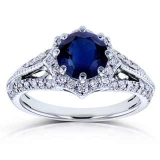 Link to Annello by Kobelli 14k White Gold Blue Sapphire and 1/3ct TDW Diamond Star Halo Engagement Ring (H-I, I1-I2) Similar Items in Rings