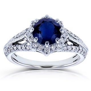 Annello by Kobelli 14k White Gold Blue Sapphire and 1/3ct TDW Diamond Star Halo Engagement Ring (H-I, I1-I2)