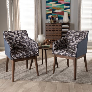 Baxton Studio Mid-Century 3-Piece Lounge Chair and Side Table Set