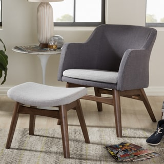 Baxton Studio Mid-Century Two-Tone Grey Fabric Lounge Chair and Ottoman Set