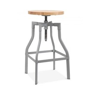 Machinist Grey Steel and Wood Adjustable Bar Stool