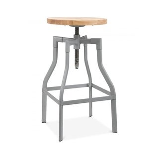 Machinist Grey Ash Wood Adjustable Steel Barstool 26-32 Inch