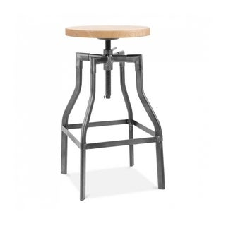 Machinist Gunmetal Ash Wood Adjustable Steel Barstool 26-32 Inch