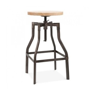 Machinist Rustic Matte Adjustable Steel Barstool 26-32 Inch - tan