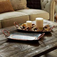 Decorative Galvanized Metal Trays (2-piece Set)