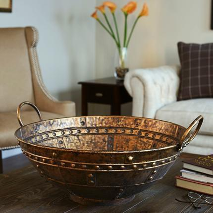 Household Essentials Bronze Metal Extra Large Decorative Bowl & Household Essentials Bronze Metal Extra Large Decorative Bowl - Free ...