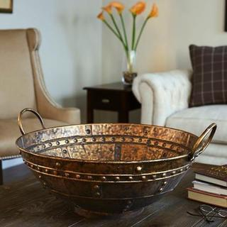 Household Essentials Bronze Metal Extra Large Decorative Bowl