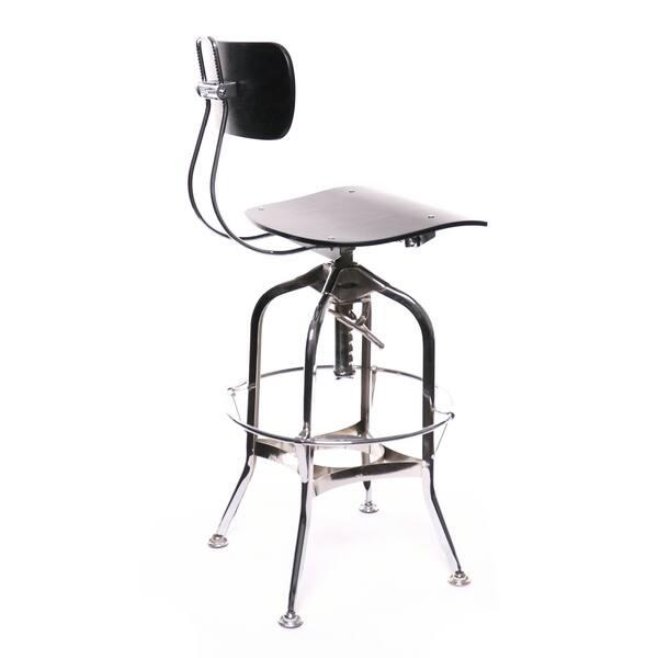 Fine Shop Toledo Black Chrome Adjustable High Back Bar Chair 25 Short Links Chair Design For Home Short Linksinfo