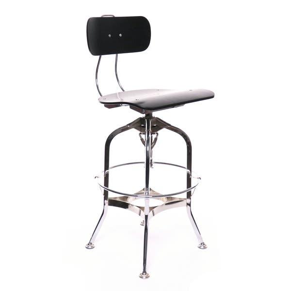 Astonishing Shop Toledo Black Chrome Adjustable High Back Bar Chair 25 Short Links Chair Design For Home Short Linksinfo
