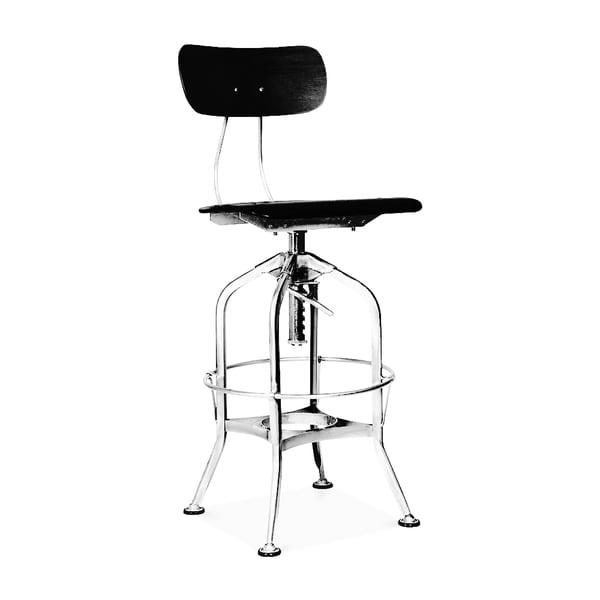 Toledo Black Chrome Adjustable High Back Bar Chair 25 29