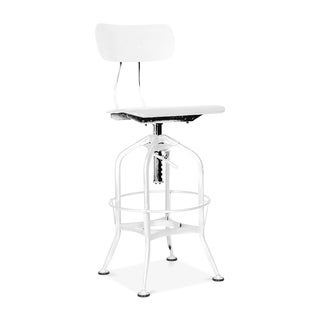 Toledo White/Chrome Adjustable High-Back Bar Chair
