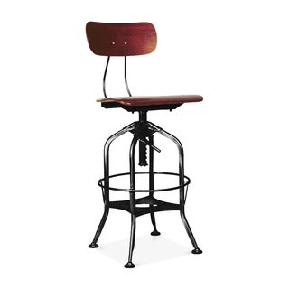 Toledo Red Walnut and Steel Adjustable High-Back Bar Chair