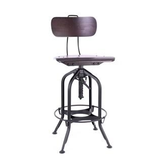 Toledo Walnut/Black Adjustable High-Back Bar Chair