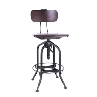 Toledo Walnut/Black Adjustable High-Back Bar Chair 25 - 29 Inch